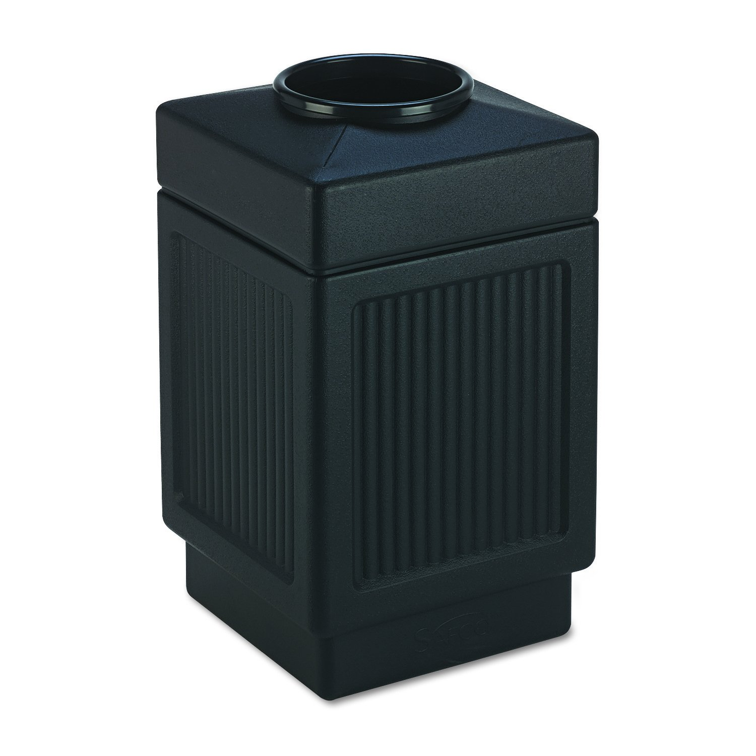 Safco 9475BL Canmeleon Top-Open Receptacle, Square, Polyethylene, 38gal, Textured Black