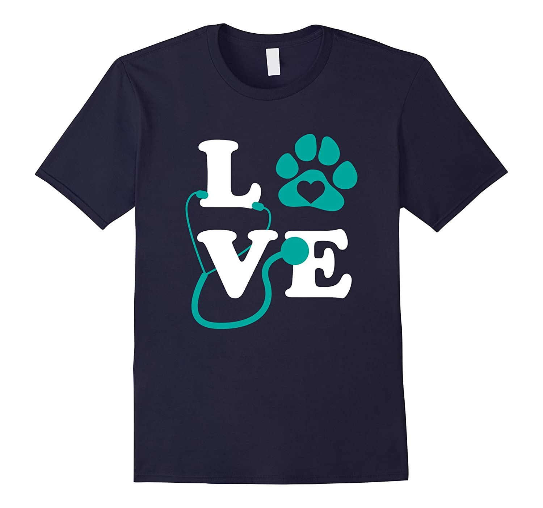 LOVE Veterinary Medicine Shirt Cute Letters Pawprint Gift-TD