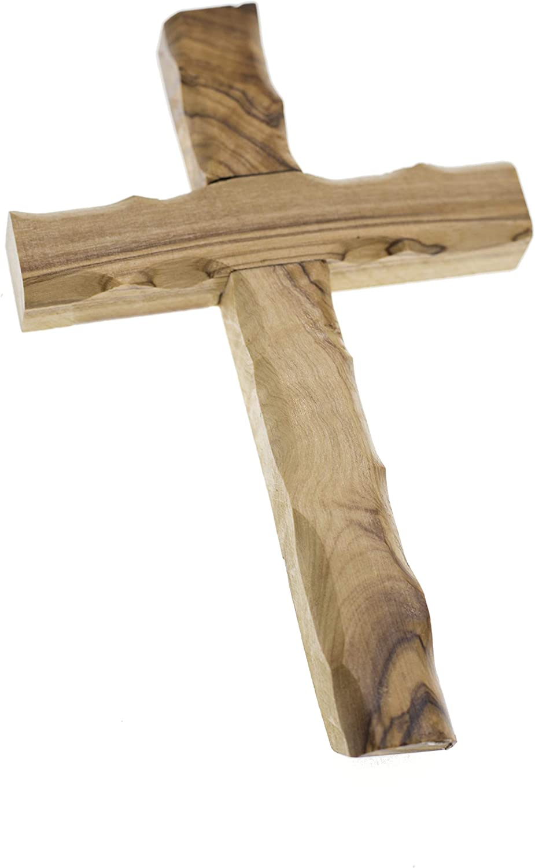 hergestellt im Heiligen Land 17,3 cm SpringNahal Jesus Olivenholz-Kreuz aus Bethlehem mit Zertifikat