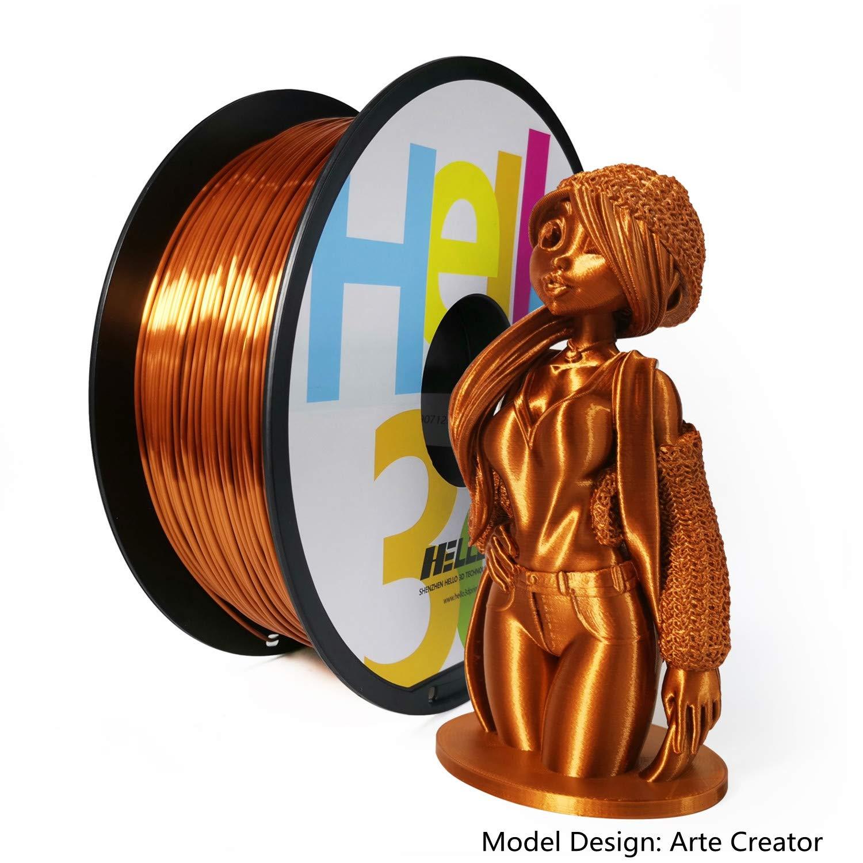 PLA 3D Printer Filament, Silk Copper PLA Filament 1.75mm Hello3d OEM, Silky Shiny Filament Printing Material, 1KG (2.2Lbs) 1 Spool (Silk Copper)