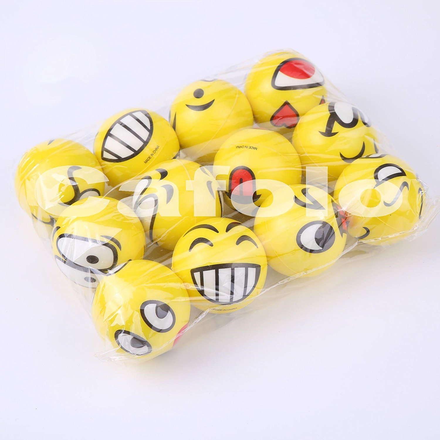 """12(1 Dozen) ~ 3"""" Assorted Big Happy Emoji Face Squeeze Balls For Stress Reducer / Anxiety Relieves (Perfect for theme party, birthday party) Fun Office Holiday Gift Stocking Stuffer ~ Gag Toy Cafolo"""