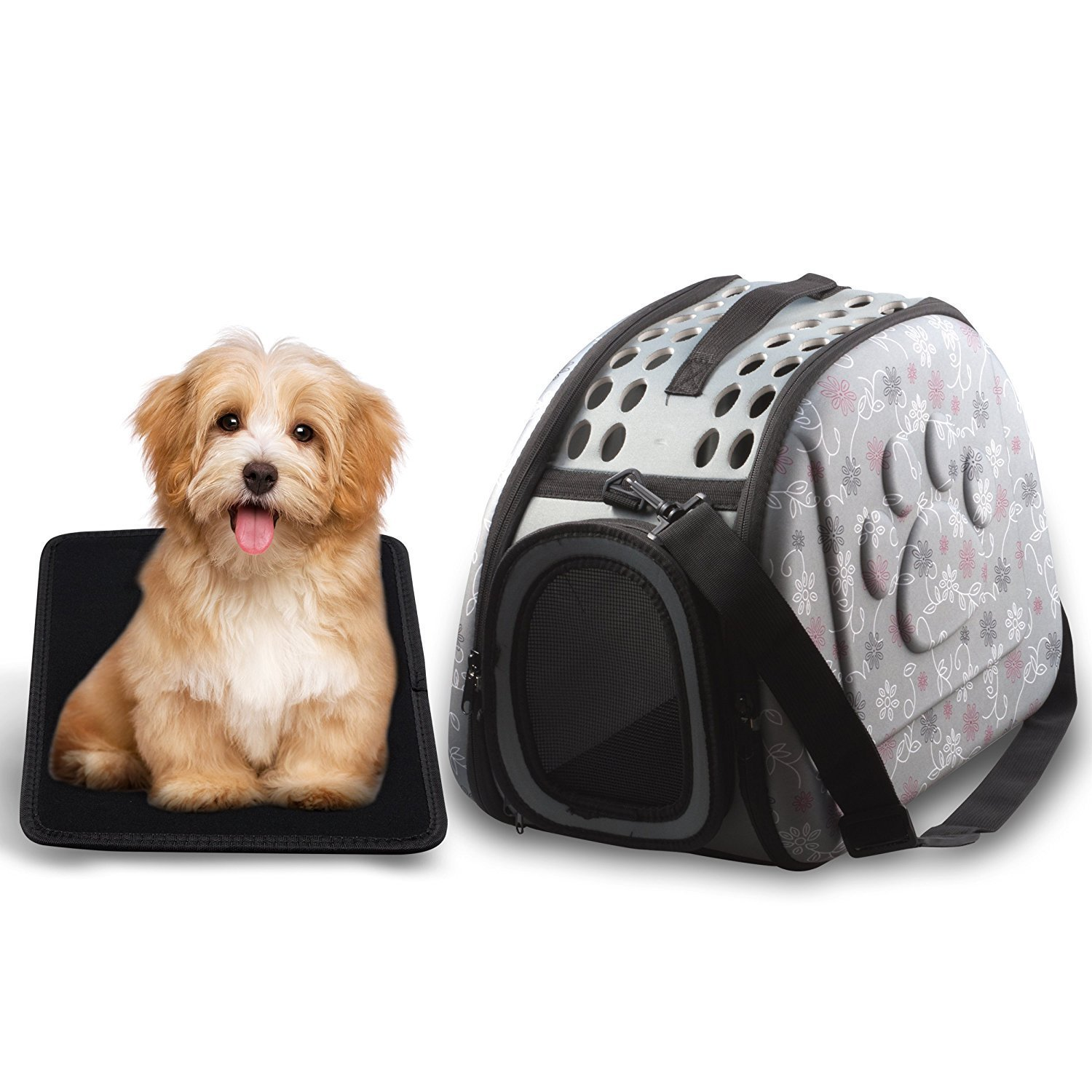 Foldable Pet Dog Cat Carrier Cage Collapsible Travel Kennel - Portable Pet Carrier Outdoor Shoulder Bag for Puppy Dog Cat Small Medium Large Animal (M, Grey)