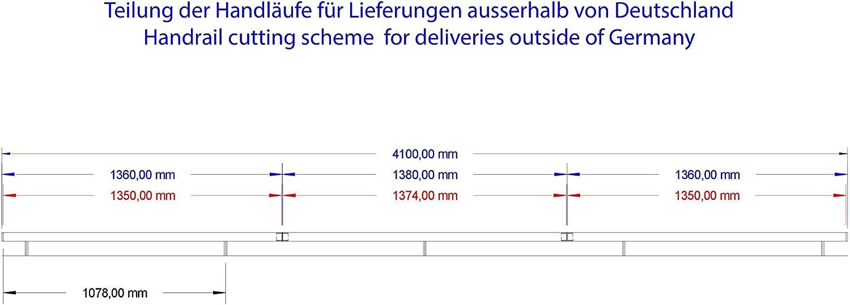 Edelstahl Handlauf V2A 33,7mm 240K geschliffen Wandhandlauf mit gerader Endkappe 2000 mm