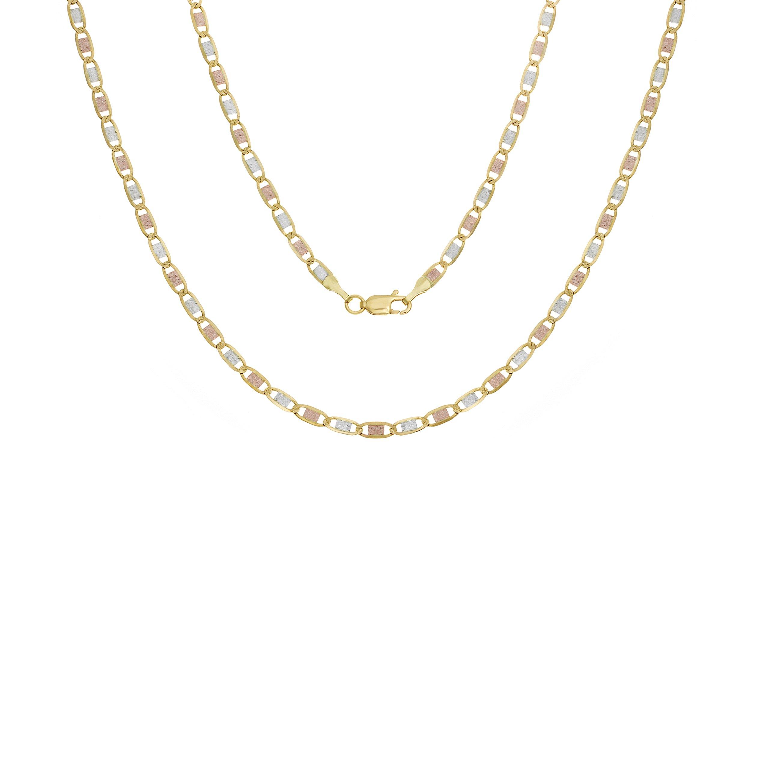14k Tri-color-gold 2 mm Valentino Link Chain, 20 Inch