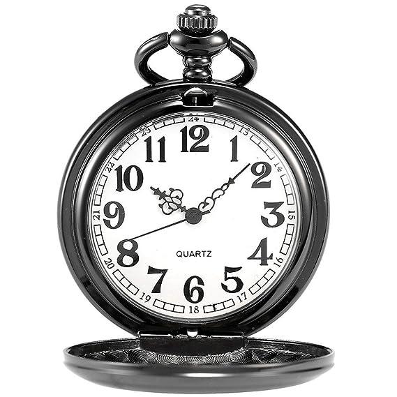 mymei negro moderno reloj de bolsillo con cadena para el regalo Padre: Amazon.es: Relojes