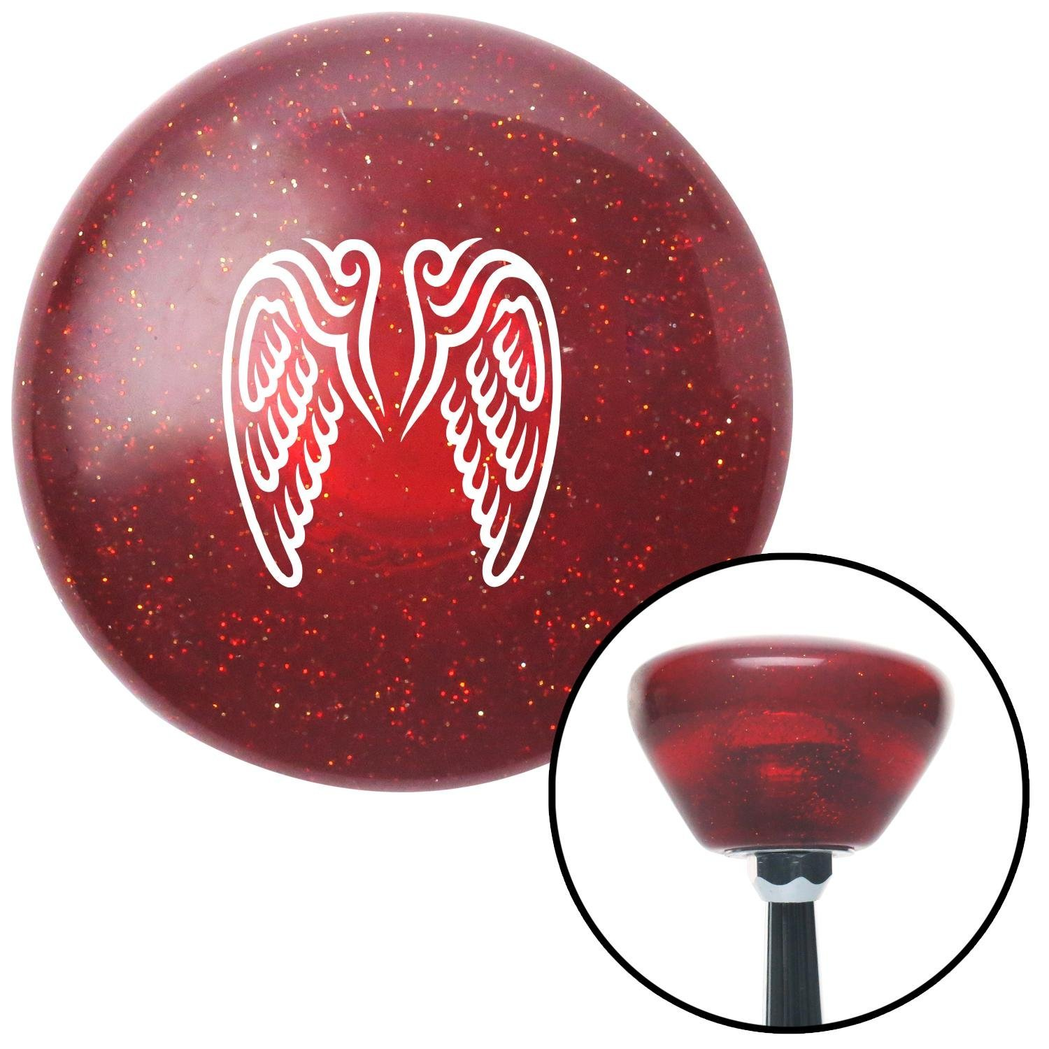 White Angel Wings American Shifter 194261 Red Retro Metal Flake Shift Knob with M16 x 1.5 Insert