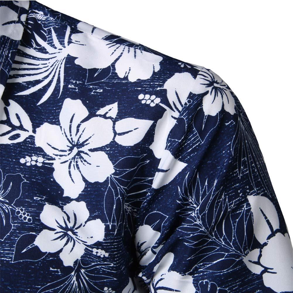 7,XXXL Mens Hawaiian Printed Shirt Mens Summer Beach Short Sleeve Floral Shirts
