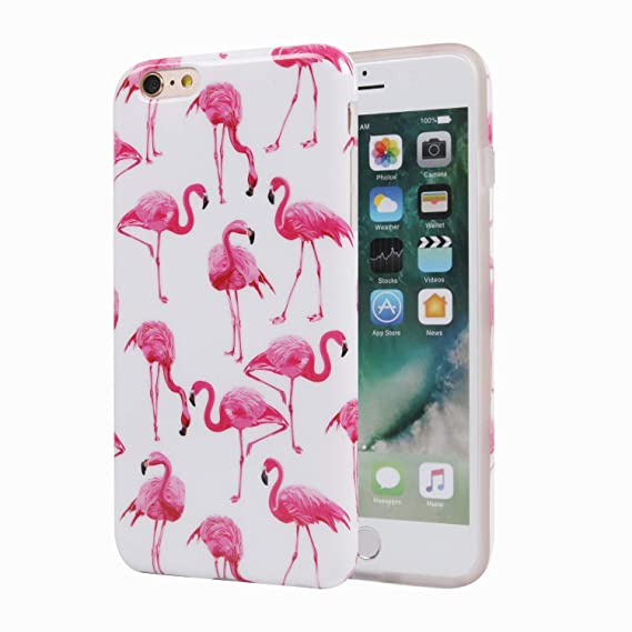 the latest ce2ab 556d5 Cute iPhone 6 Plus Case, Girls Red Flamingo Protective Bumper Slim Fit  Shockproof Cute Soft Silicone Rubber Glossy TPU Cover Phone Case for Apple  ...
