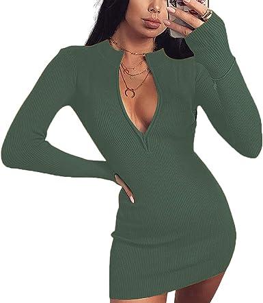 New Stylish Women/'s Long Sleeves V Neck Solid Color Draped Zipper Club Dress