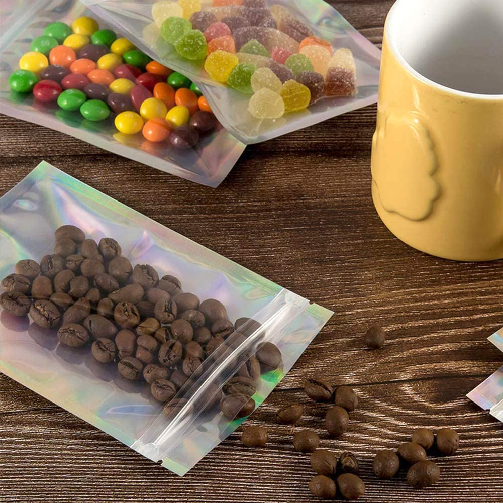 klar Aluminiumfolienbeutel wiederverschlie/ßbare Verpackungsbeutel Geruch dichte Verpackung flach ziplock Lebensmittellagerbeutel f/ür Kaffeebohnen Bonbons Mylar-Zip-Lock Beutel 100 PC 8,5 x 13 cm