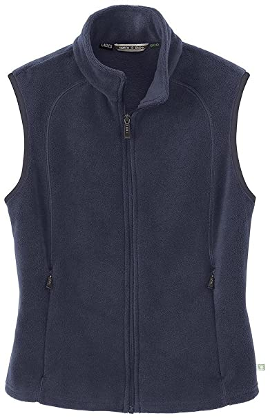 North End Womens Navy Blue ECO Friendly Fleece Vest Jacket Outerwear ... 021a7e00bb