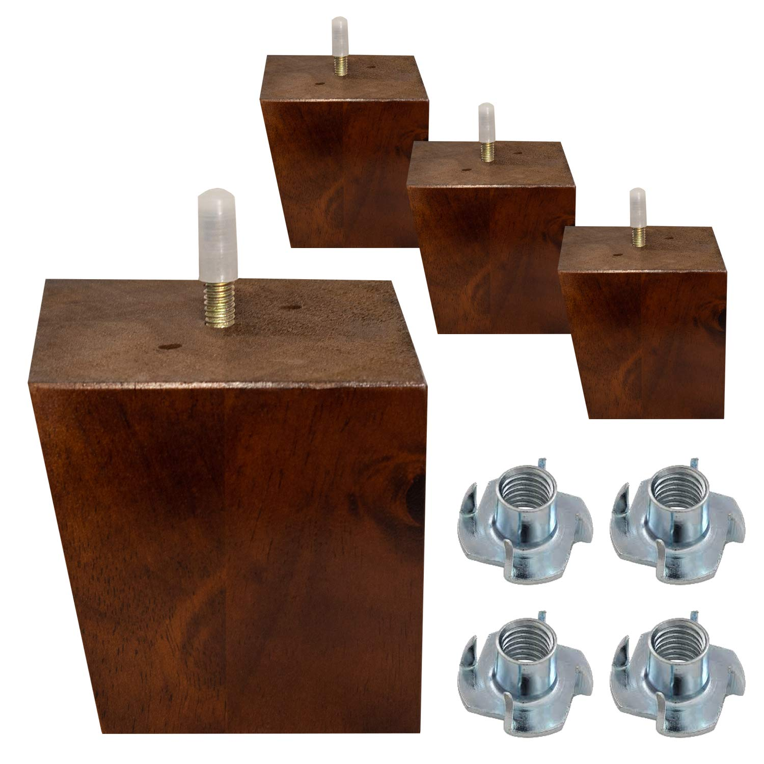 """ComfortStyle Furniture Legs, Sofa Ottoman and Chair 3.5"""" Wood Feet Replacement, Set of 4 Mid Century Modern Angled Feet, Walnut Finish"""