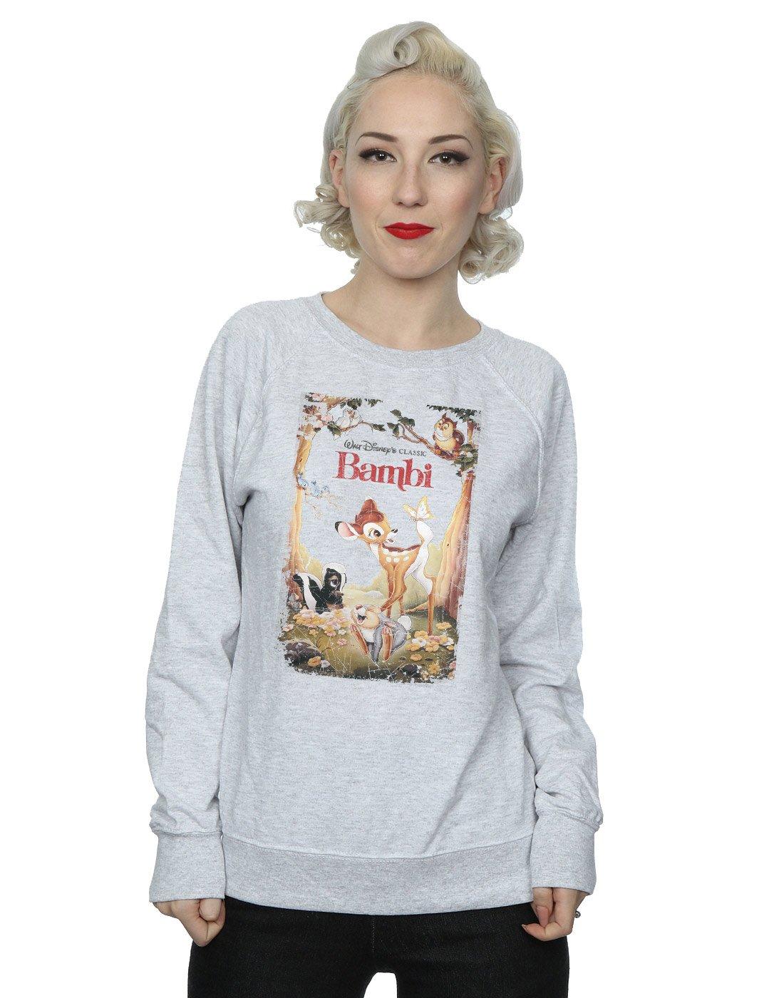 Disney Women's Bambi Retro Poster Sweatshirt X-Large Heather Grey