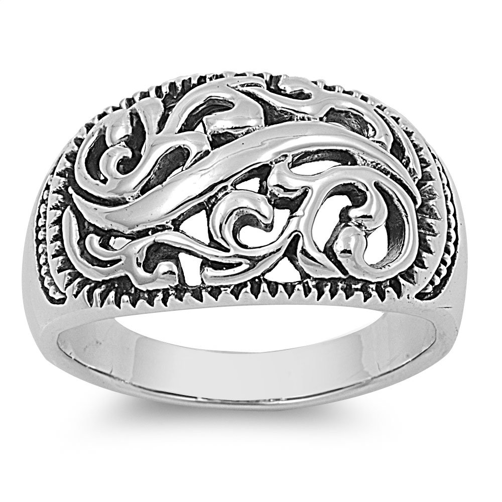 Princess Kylie 925 Sterling Silver Wavy Filigree Design Ring