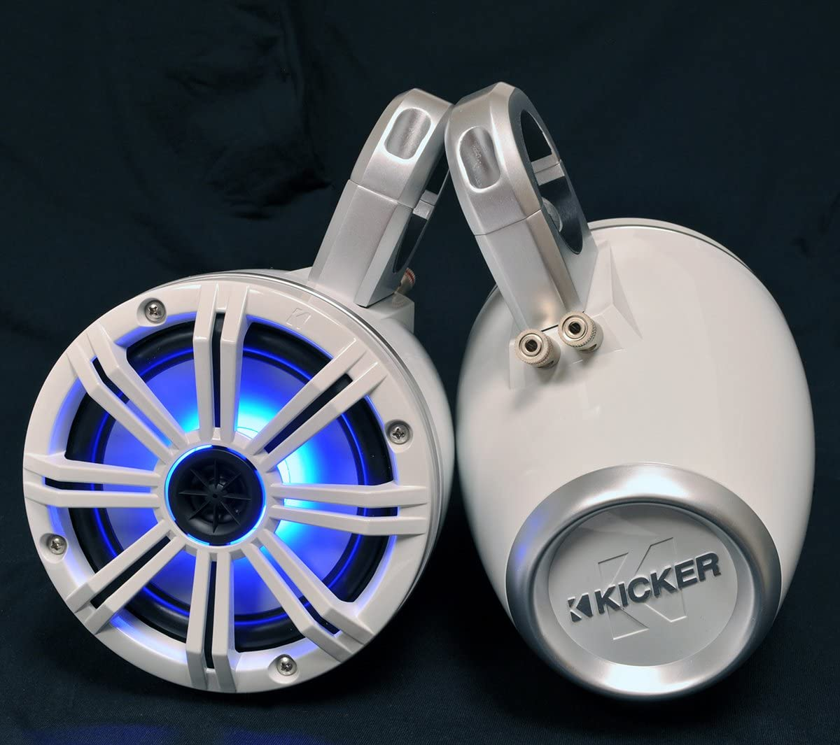 Pair Kicker White Wake Tower System with 6.5 Marine RGB LED Speakers