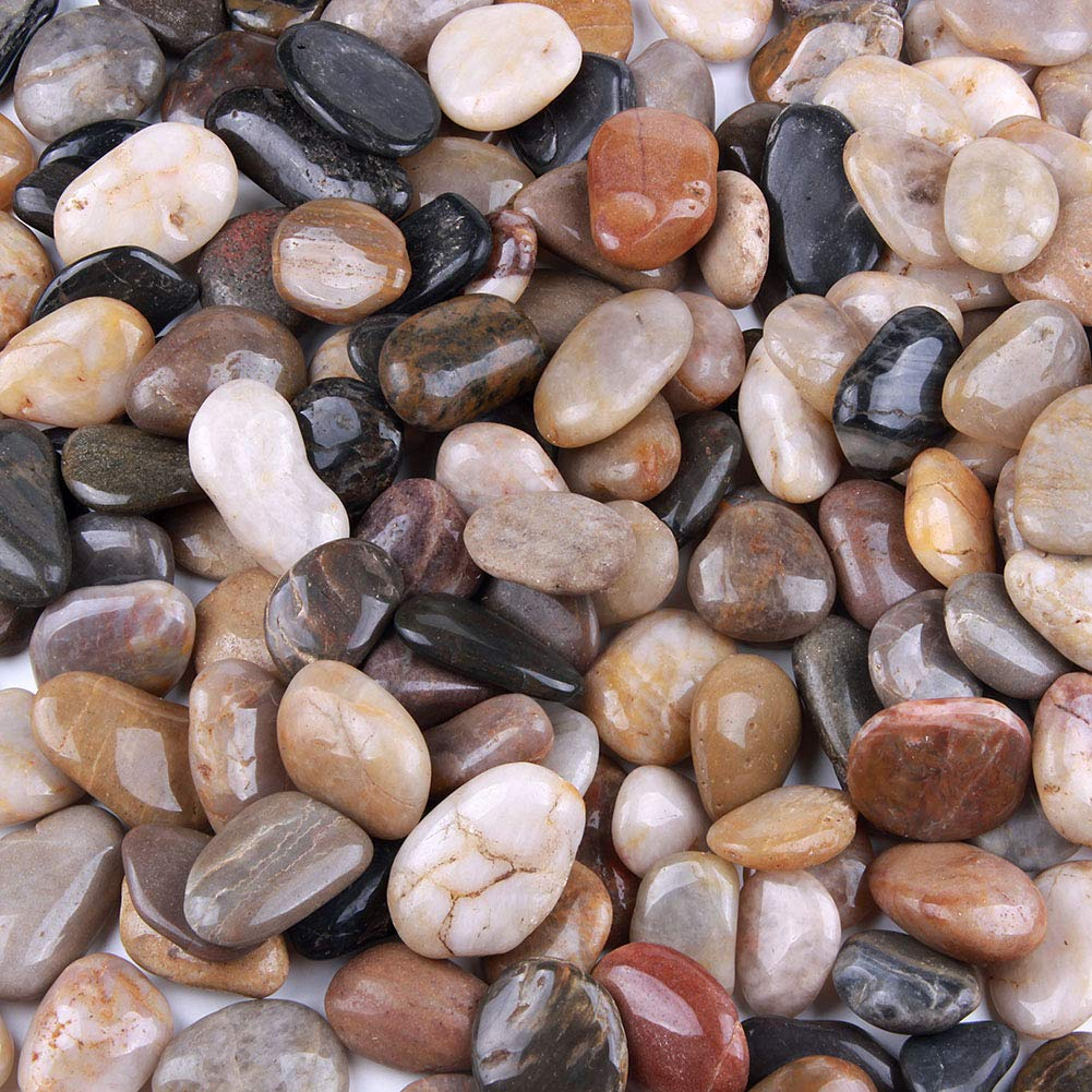 5 Pounds River Rocks, Pebbles, 1-2 Inches Garden Outdoor Decorative Stones, Natural Polished Mixed Color Stones
