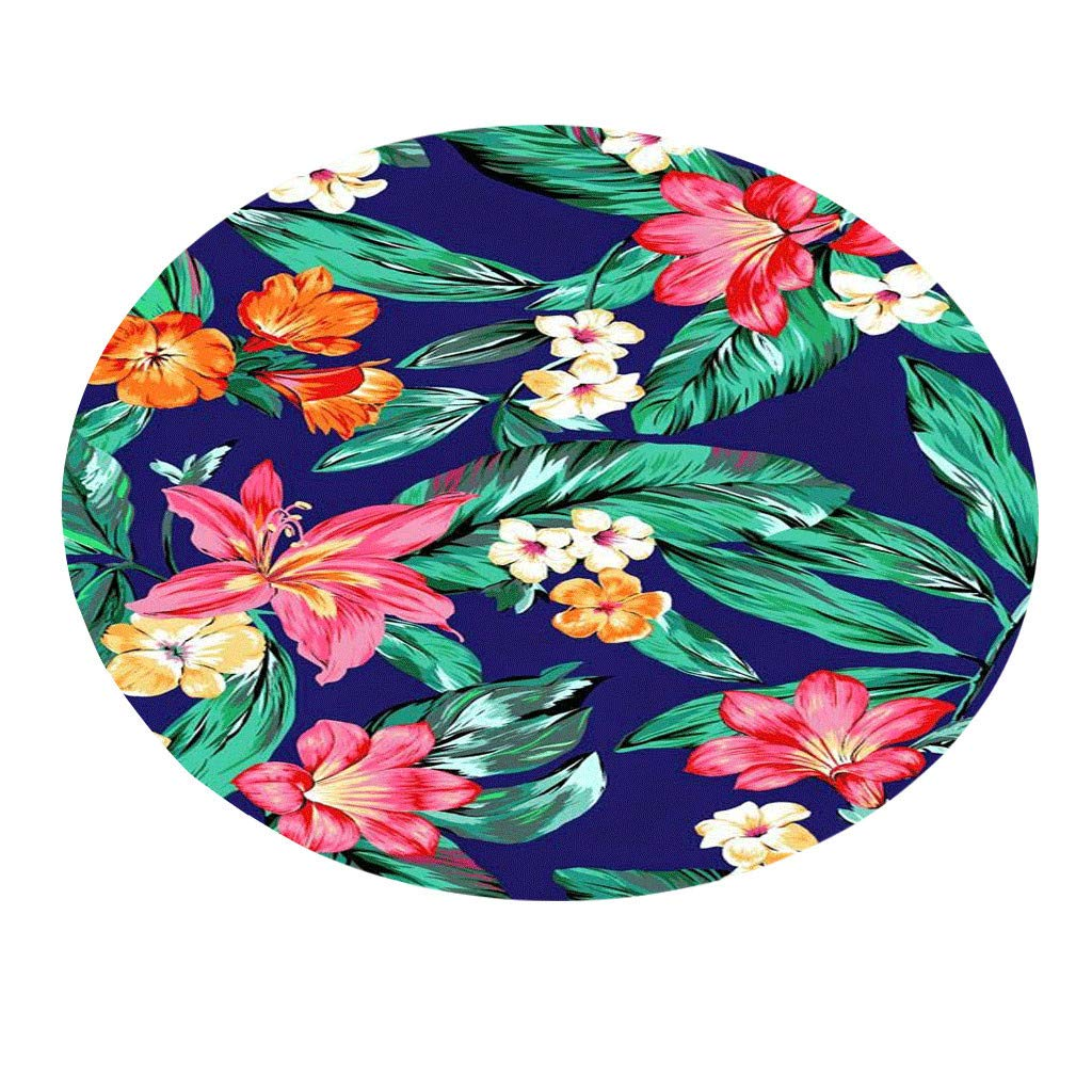 Frog Fun® Movers&Shakers | Tropical Plant leaves Pattern Round Flannel Bathroom Kitchen Carpet 80cm (MulticolorE)