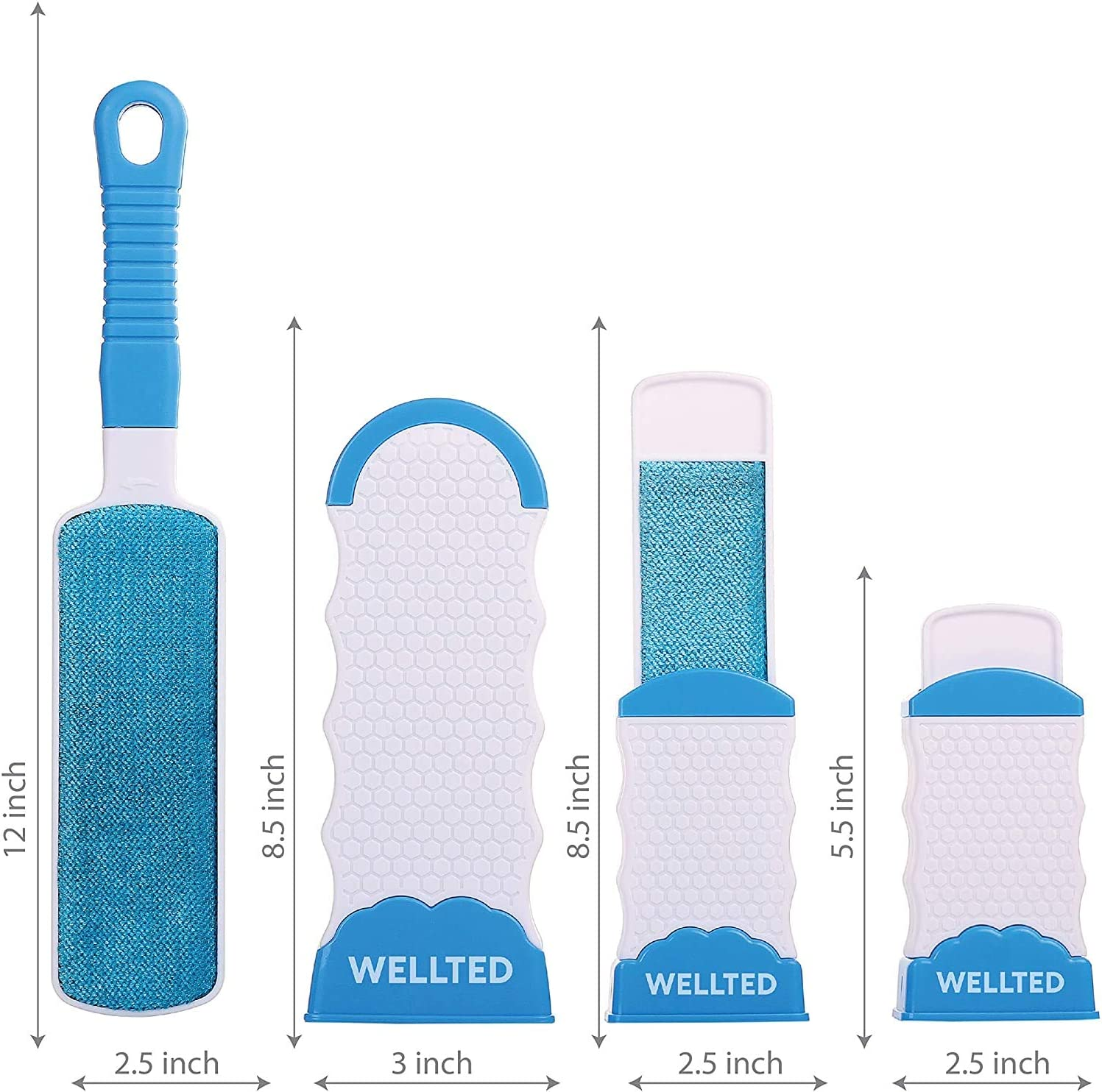 WELLTED 2020 Updated Pet Hair Remover Brush - Lint Brush - Fur Remover - Fur & Lint Removal - Dog & Cat Hair Remover - Double-Sided Brush with Self-Cleaning Base - for Furniture Clothing Car Seat: Pet Supplies