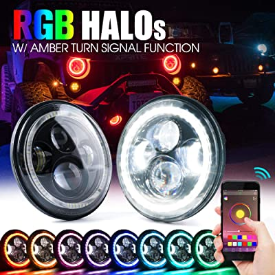 """Xprite 7"""" Inch Bluetooth RGB LED Headlights for 1997-2020 Jeep Wrangler JK TJ LJ, w/Halo Ring DRL and Turn Signal Function, CREE Led Chip, 90W 9600 Lumens Hi/Lo Beam Round Headlamps: Automotive"""