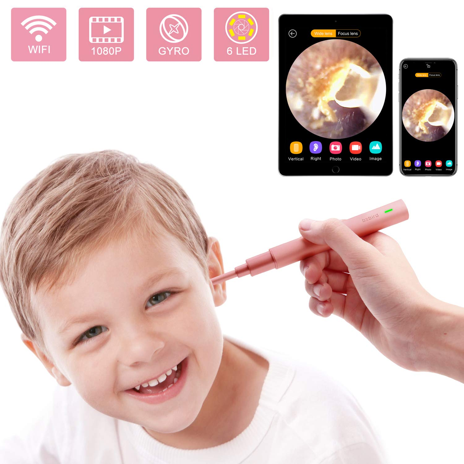 Ear Camera, 1080P FHD Wireless Ear Wax Removal Endoscope, Super Light Lens WiFi Ear Endoscope with 6 LED Lights, Ear Otoscope Camera with 3-Axis Gyroscope, Compatible with Smartphone and Tablet. by Hmount
