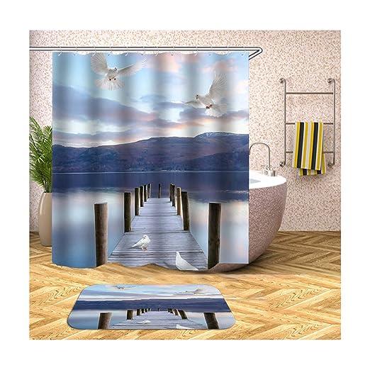 Aienid Cortina Ducha Antimoho Transparente Puente Y Paloma Blanco Y Azul Cortina De Ducha Estanca Size:150X180CM: Amazon.es: Hogar