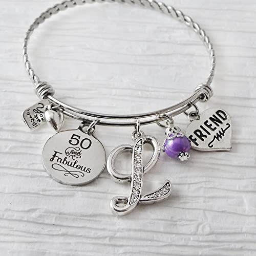50th For Mum 50th Birthday Silver Bracelet Fifty birthday gift for women Sentimental gifts 50th For Friend stretch bracelet