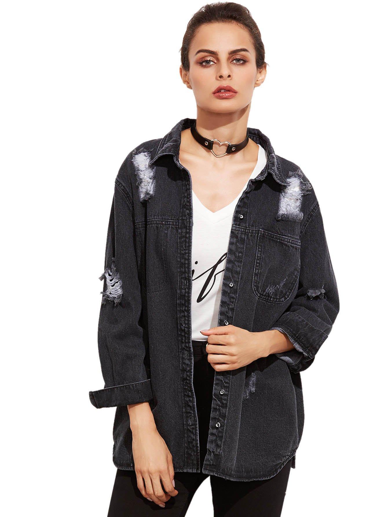 SheIn Women's Boyfriend Distressed Button up Long Sleeve Denim Jacket Black Small
