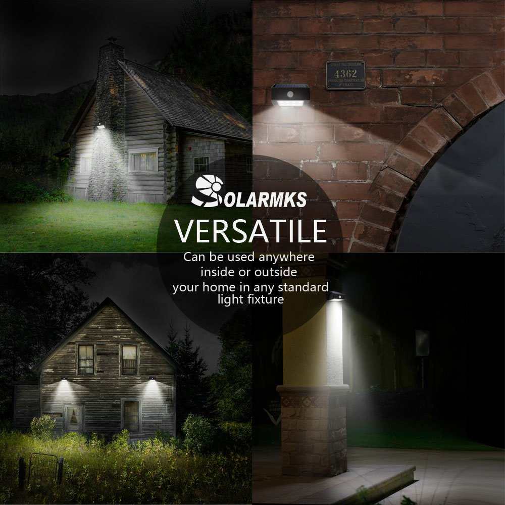 Solarmks S-1804 SB-01 LED Solar Motion Sensor Waterproof Exterior Wall Light for Patio,Yard,Garden,Path and Driveway (2Pack)