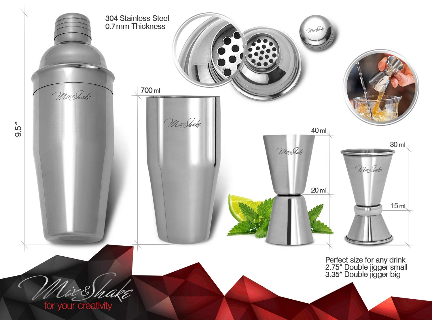 Cocktail Shaker - Cobbler Shaker - Bartender Kit - Bar Supplies - Drink Mixer - Martini Shaker Set-11 Piece Stainless Steel Cocktail Shaker Set With Strainer, Muddler, Two Jiggers, Bar Spoon,Ice Tongs by Mix&Shake (Image #3)