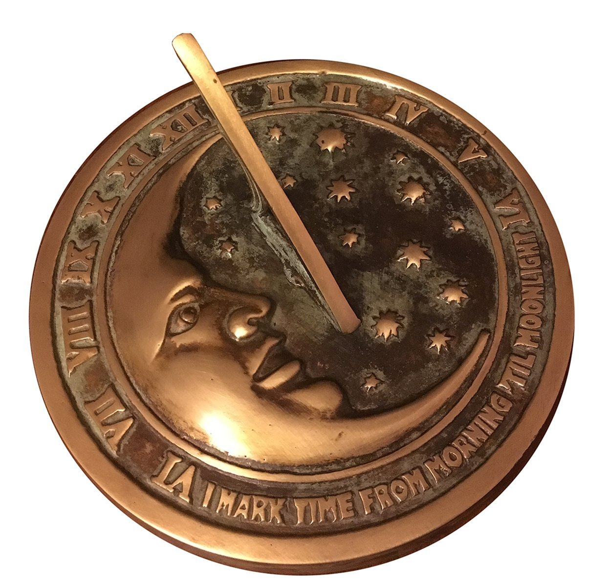 Rome 2312 Moon and Stars Sundial, Solid Brass with Verdigris Highlights, 8.5-Inch Diameter