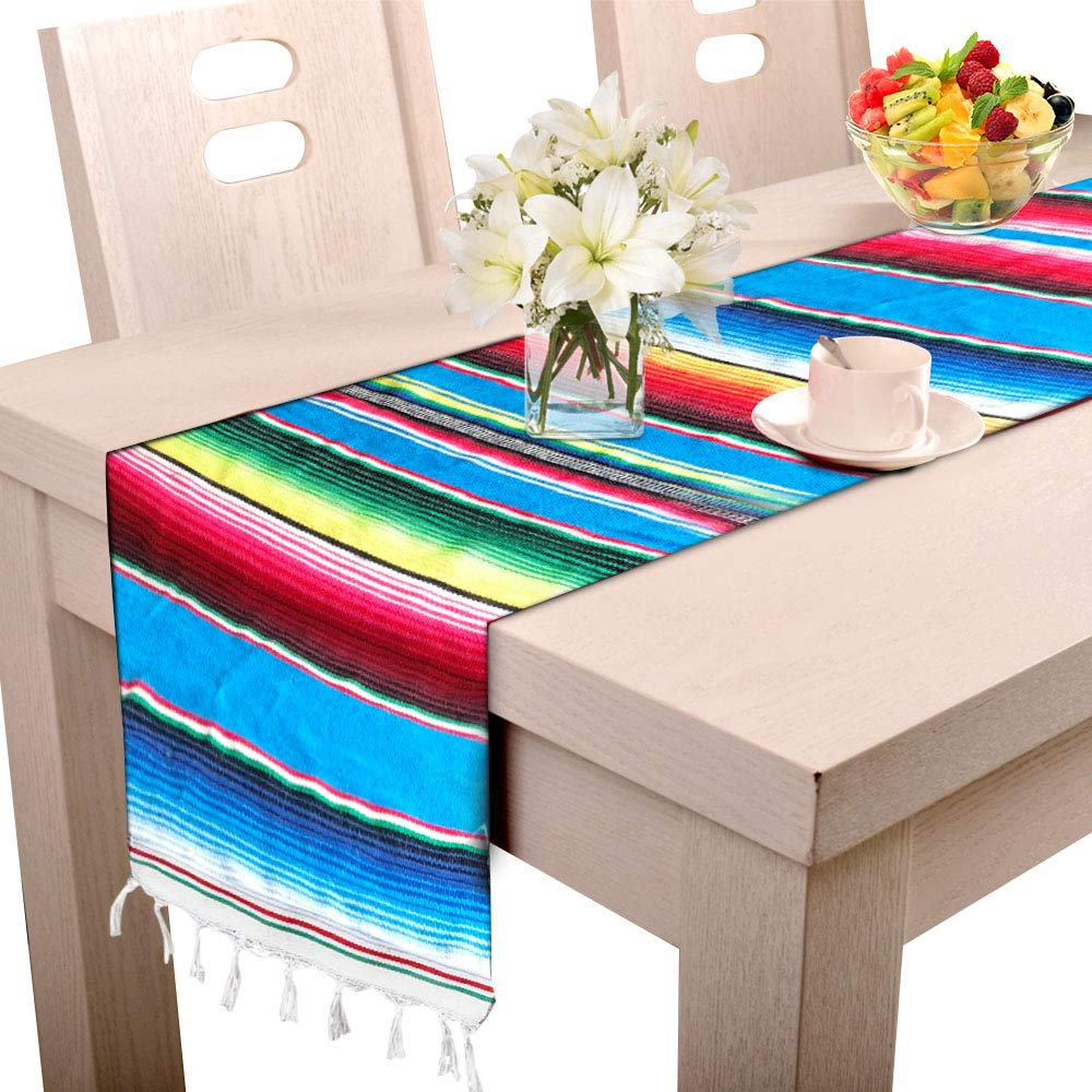 14 x 84 Inch Mexican Serape Table Runner for Mexican Wedding Party Decoration, Hand-Woven Cotton Mexican Blanket Table Runner