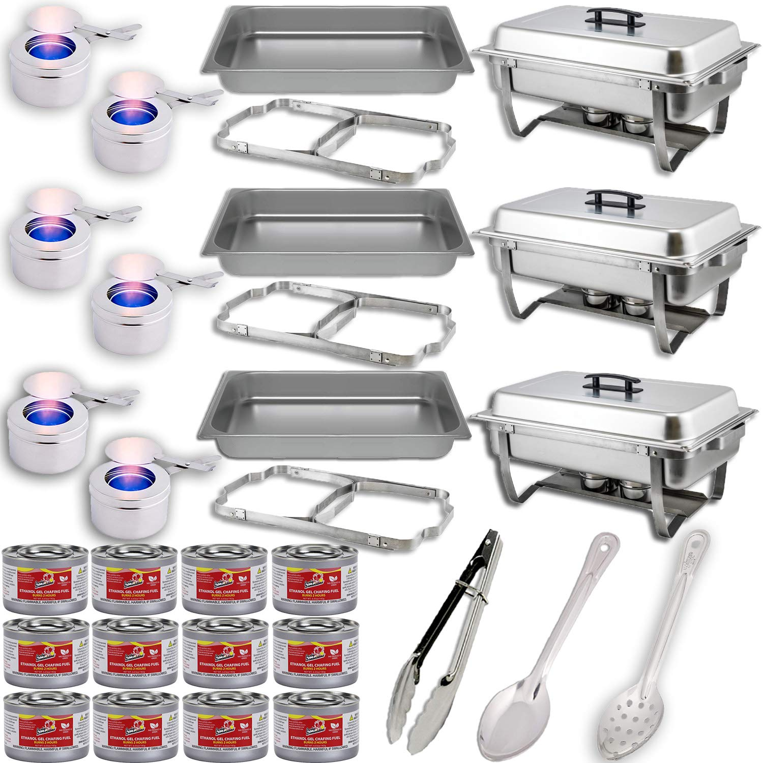Chafing Dish Buffet Set w/Fuel - Folding Frame + Water Pans + Food Pans 8qt + Lids + 6 Fuel Holders + 12 Fuel Cans + Serving Utensils (15'' Perforated spoon + 15'' Solid Spoon + 9'' Tong) - 3 Warmer Kit by HeroFiber