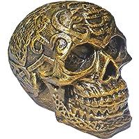 Unique Shape Celtic Skull showpiece Figurine Flower Pattern Antique Fancy Human Head Statue Knot Work Alien Halloween