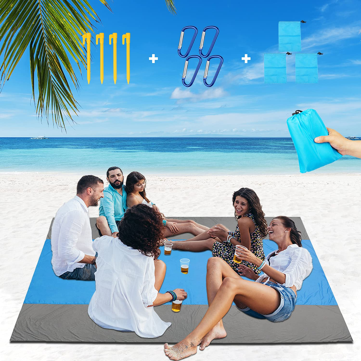 Beach Blanket Sand Free Large Beach Blanket Sandproof and Waterproof Beach Mat