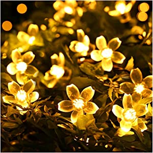 Youtato Flower String Lights, Fairy Lights with Flowers 33ft 100 LEDs Cherry Blossom String Light Plug in, 8 Flash Changing Modes, Christmas Lights for Garden Wedding Party Bedroom Home Decor