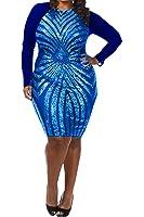 VIVOSKY Women's Plus-Size Dress Diamond Pattern Gauze Sequined Slim Bodycon Cocktail Dress