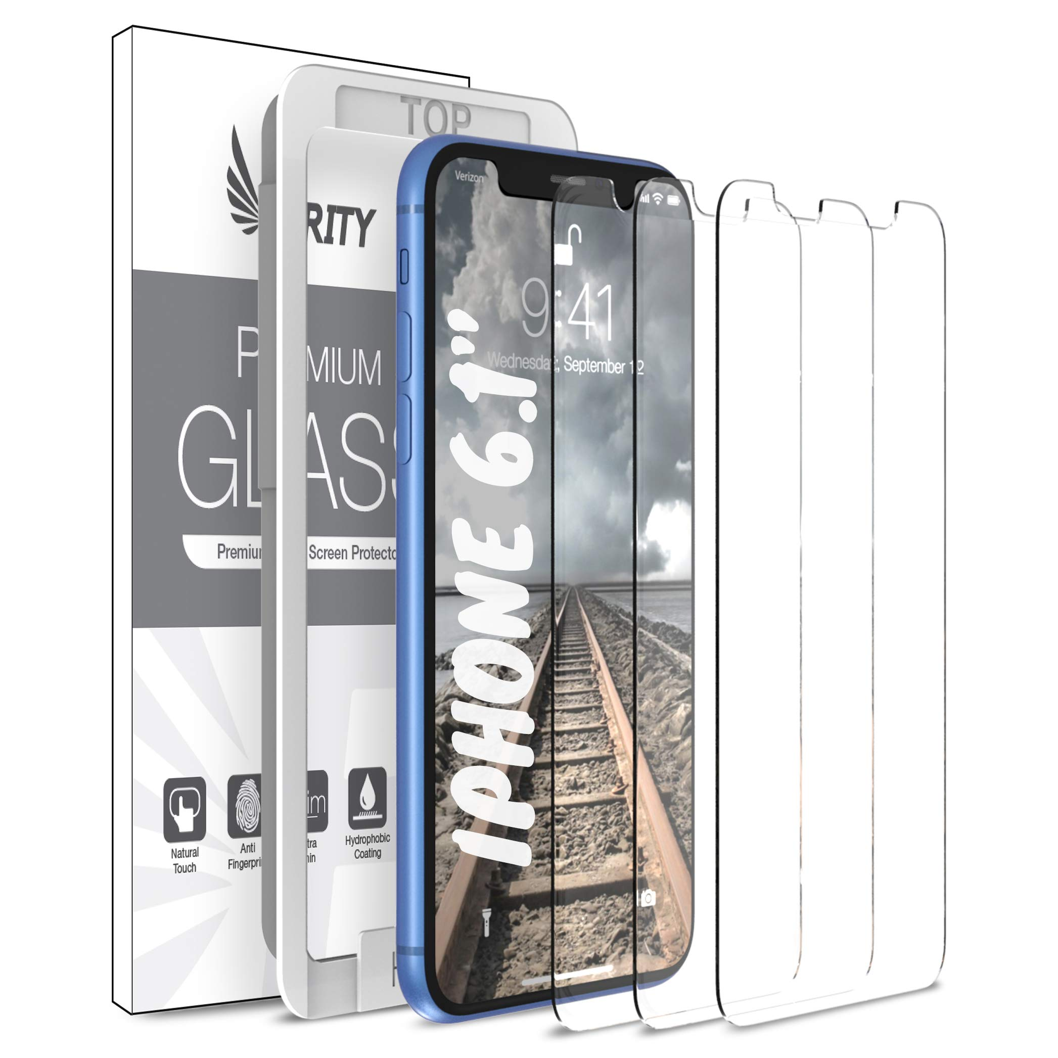 Purity Screen Protector for Apple iPhone 11 and iPhone XR - 3 Pack (w/Installation Frame) Tempered Glass Screen Protector Compatible iPhone 11 / iPhone XR (3 Pack) [Anti-Scratch] [Fit with Most Cases]