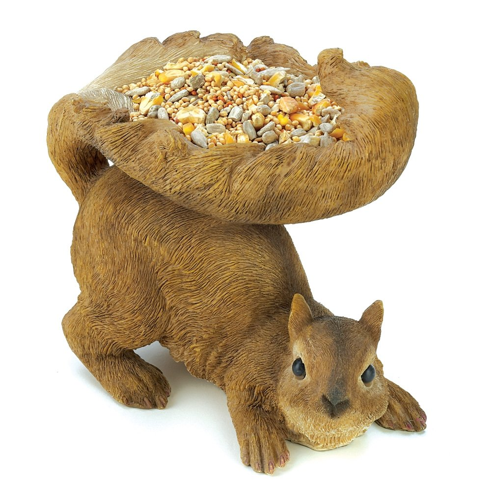 Gifts & Decor Woodland Brown Squirrel Outdoor Birdfeeder Furniture Creations - LG 12785