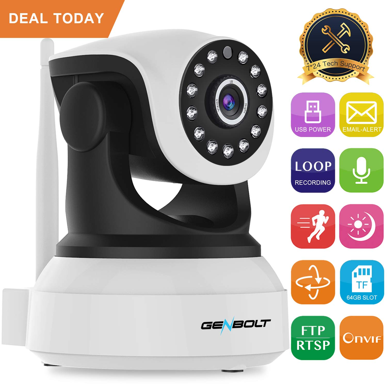 Wireless WiFi IP Security Camera - GENBOLT Indoor Camera Night Vision Pan  Tilt CCTV Spy Camera 1080P for Home Surveillance 2-way Audio/Motion
