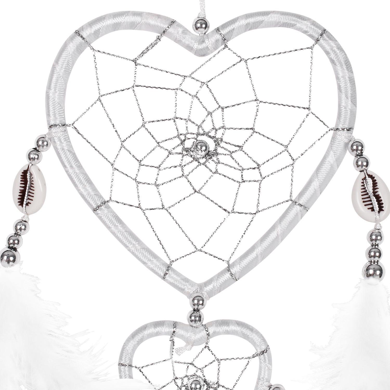 SOLRDI Dream Catcher White 24cm^10cm Heart Shape India Style Handmade Double Circular Handmade Traditional Net Home Decor Wall Car Hanging Ornament Gift