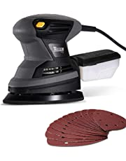 Orbital Mouse Sander, TECCPO 120V 1.6 Amp/15,500 OPM Detail Mouse Sander with 12 Pcs Sandpapers, Recyclable Dust Can and High Performance Dust Collection System for DIY -TAMS23P …