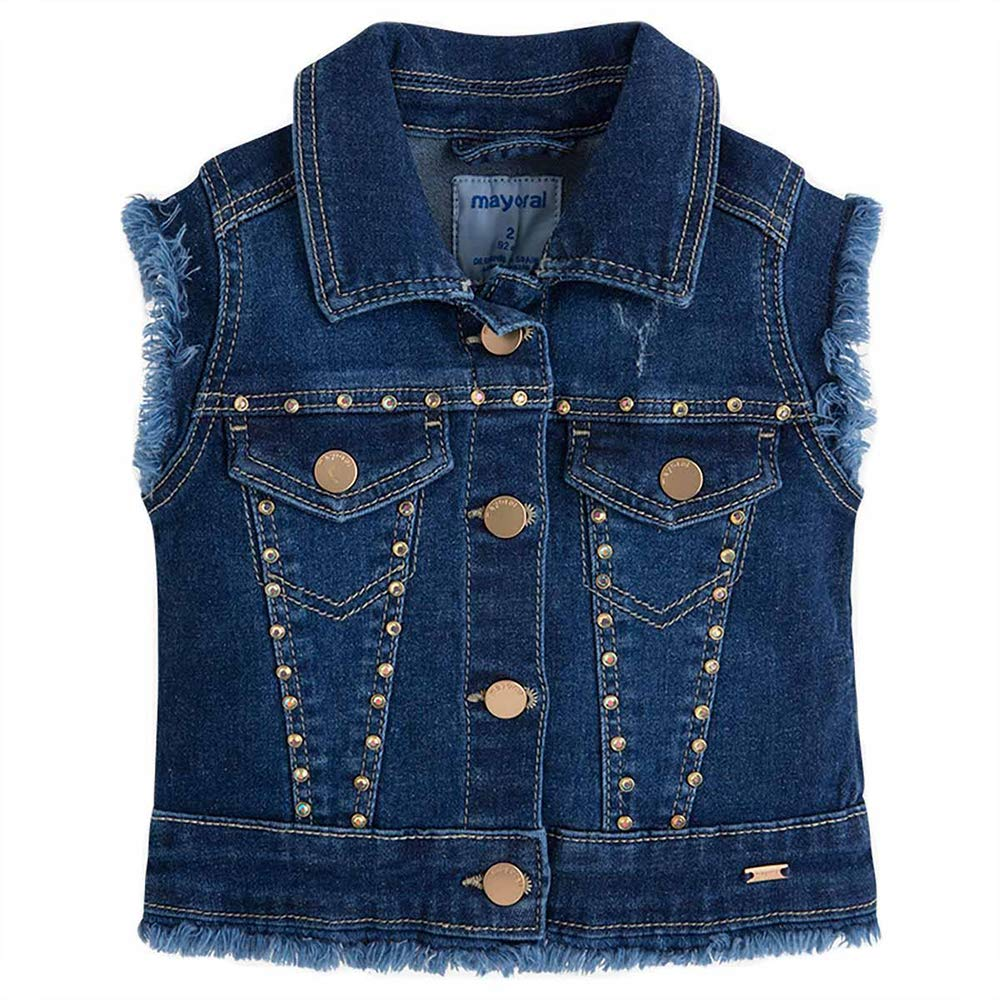 Mayoral Gilet in Jeans Strass Bambina Bambina 3406 Scuro
