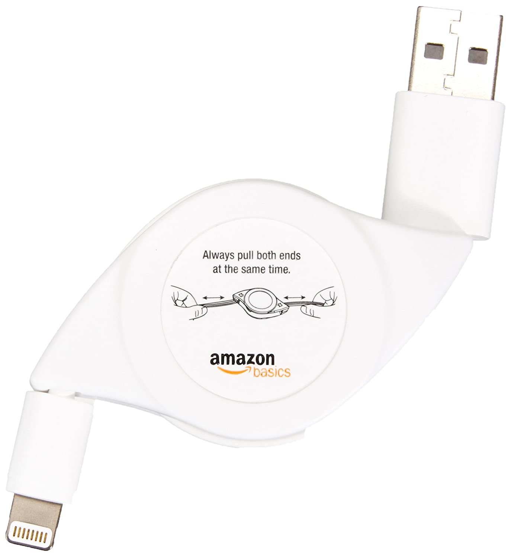negro Basics Cable de conexi/ón retr/áctil certificaci/ón Apple, conector Lightning a USB, 0.6 m