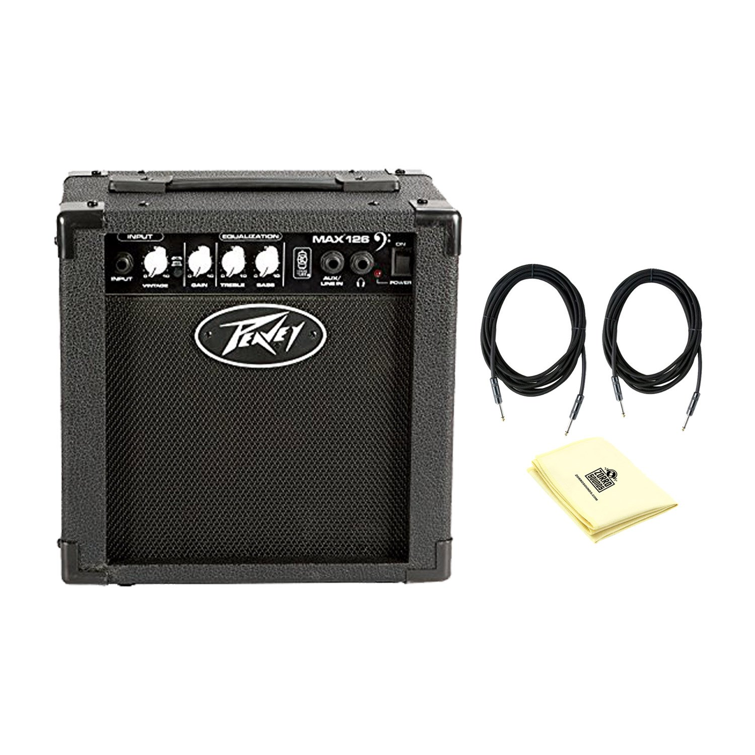 Peavey 03608290 Max 126 Bass Combo Amplifier With a Pair of Instrument Cables and Polishing Cloth