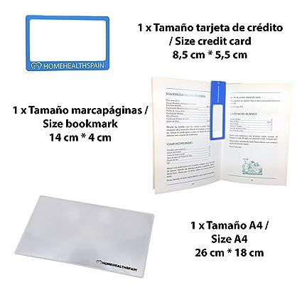 Pack de 3 Lupas: 1 x Lupa de Bolsillo Tamaño Tarjeta de Crédito + 1 x Lupa de Bolsillo Tamaño Marcapáginas + 1 x Lupa Tamaño A4