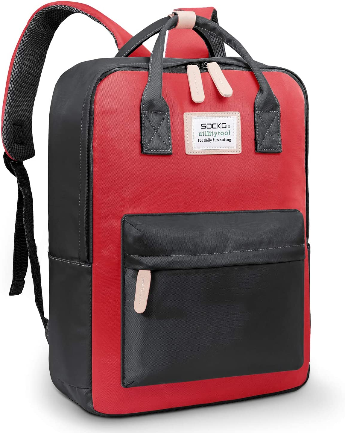 SOCKO Backpack Water Resistant College Backpack Bookbag Rucksack Light Weight Casual Daypack Multipurpose Carry On Backpack Travel Computer Bag for Men Women Fits up to 15-15.6 Inches Laptop,Black-red