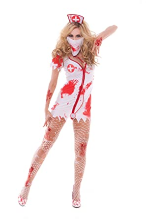0b71b805f5747 Sexy Bloodbath Betty Women's Nurse Adult Roleplay Costume, Small, White/Red