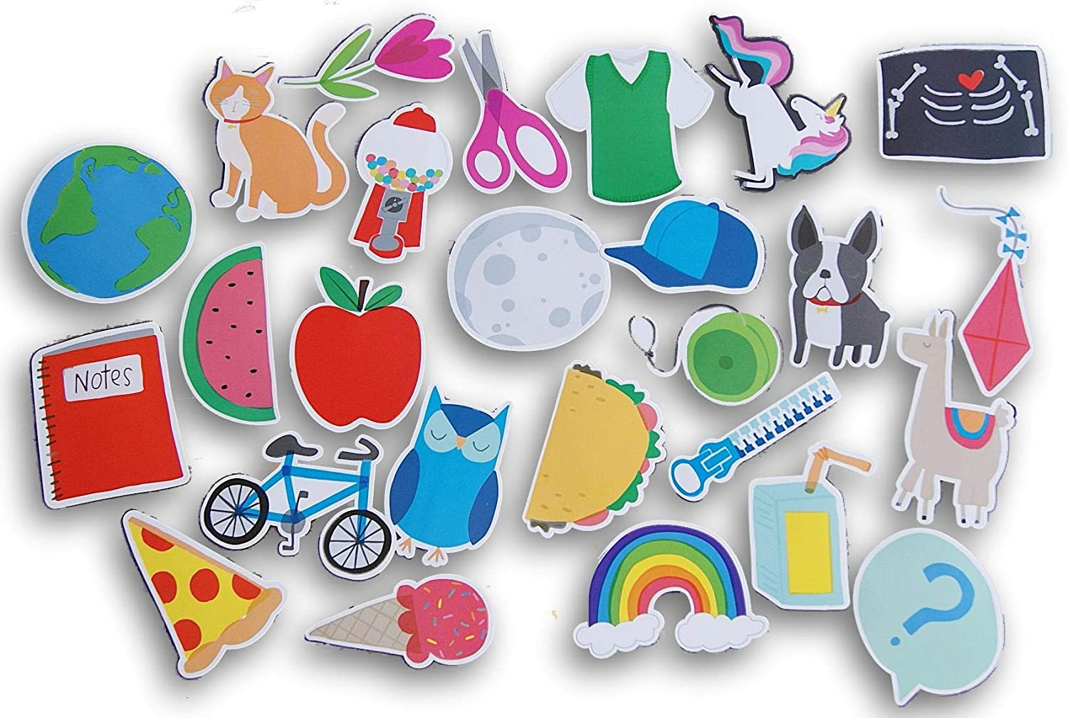 Classroom Bulletin Board Accent Paper Cut-Outs - Assorted Animals, Food Shapes, School Supply Shapes - 26 Count