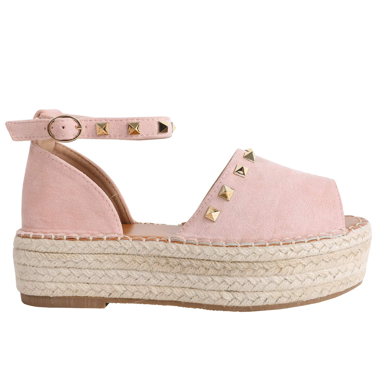 2-pink Syktkmx Womens Espadrilles Lace Up Flat Platform Ankle Strap Wrap Summer D'Orsay Sandals