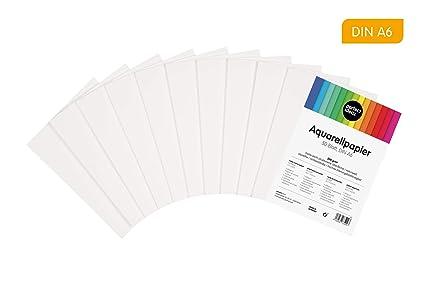 perfect ideaz 50 hojas papel para acuarela DIN-A6, 300 g, blanco ...